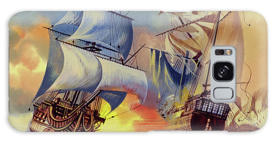 History Galaxy Case featuring the painting Admiral Hood's Fleet In The West Indies by Ron Embleton
