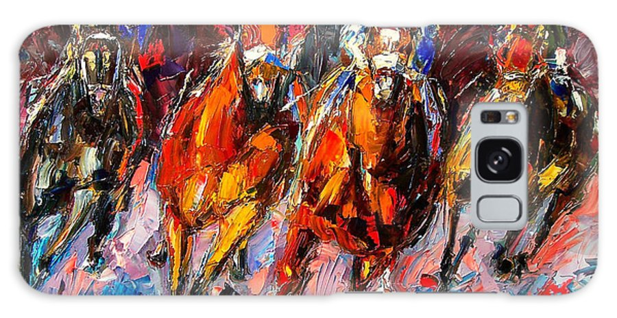Horse Race Galaxy S8 Case featuring the painting Adrenaline by Debra Hurd