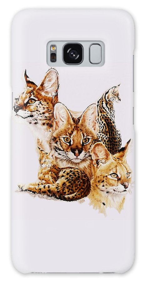 Serval Galaxy Case featuring the drawing Adroit by Barbara Keith