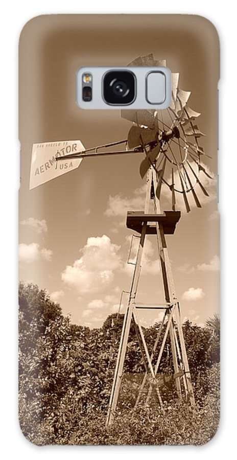 Sepia Galaxy S8 Case featuring the photograph Aermotor Windmill by Rob Hans