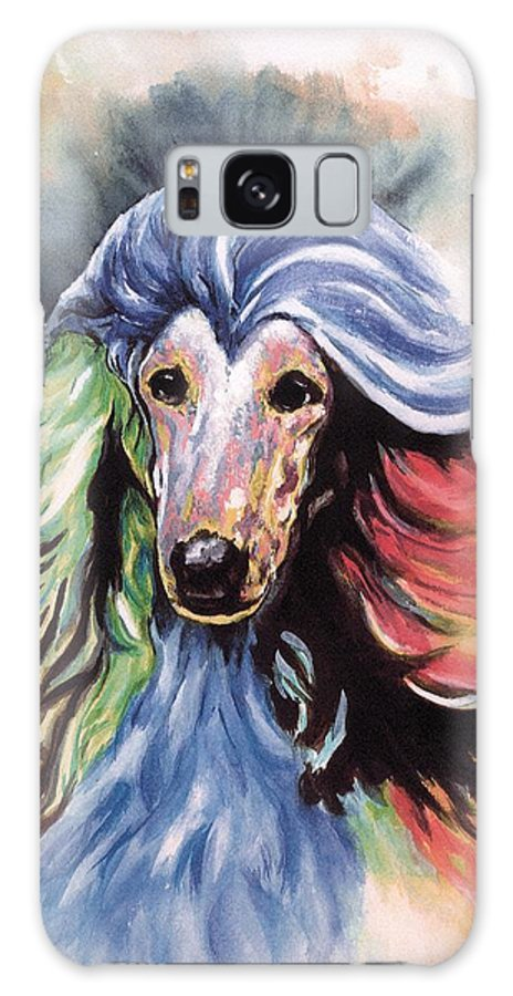 Afghan Hound Galaxy S8 Case featuring the painting Afghan Storm by Kathleen Sepulveda