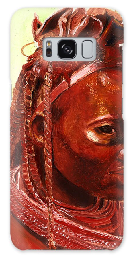 People Portrait Galaxy Case featuring the painting African Beauty by Enzie Shahmiri