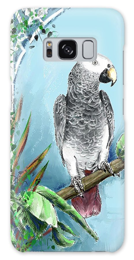 Birds Galaxy Case featuring the digital art African Grey Parrot by Arline Wagner