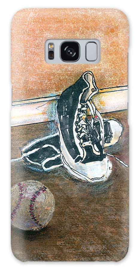 Tennis Shoes Galaxy Case featuring the mixed media After The Game by Arline Wagner