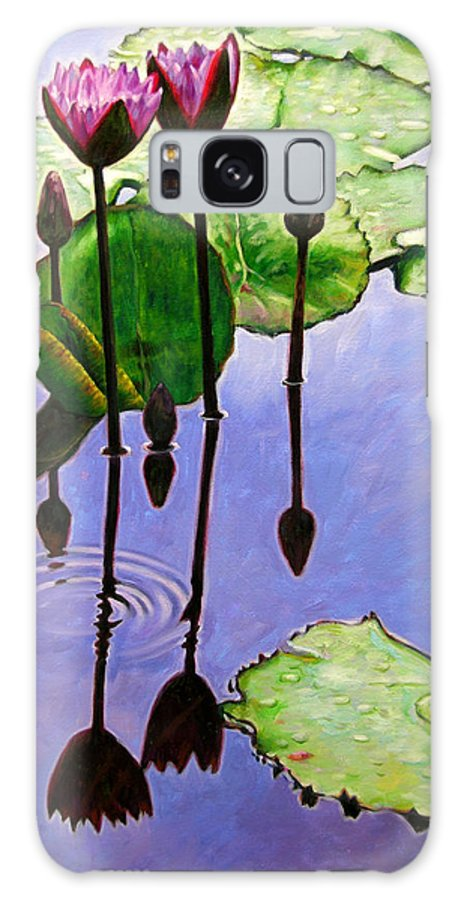 Rose Colored Water Lilies After A Morning Shower With Dark Reflections And Water Ripple. Galaxy S8 Case featuring the painting After The Shower by John Lautermilch