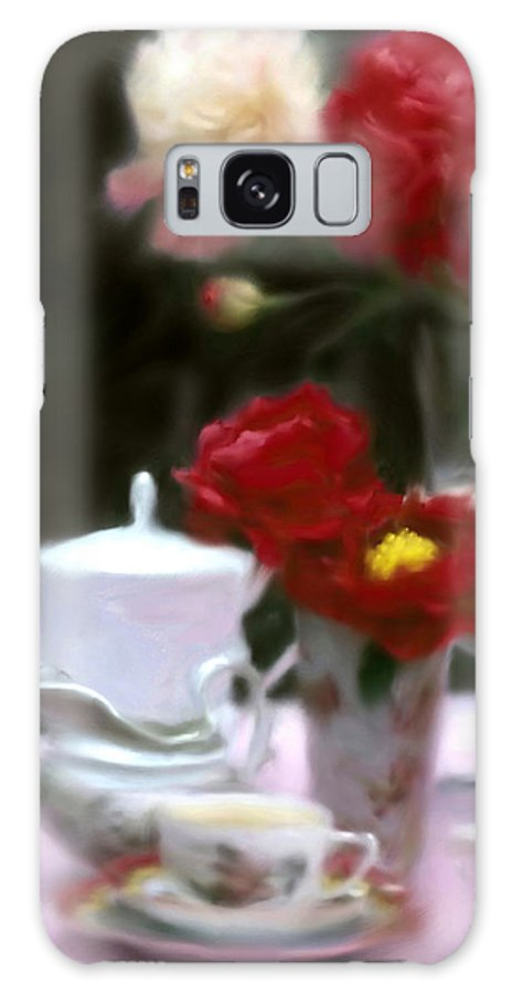 Peonies Galaxy S8 Case featuring the digital art Afternnon Tea With Peonies by Stephen Lucas