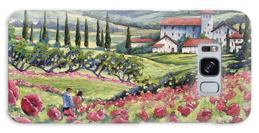 Tuscan Galaxy S8 Case featuring the painting Afternoon Stroll by Richard T Pranke