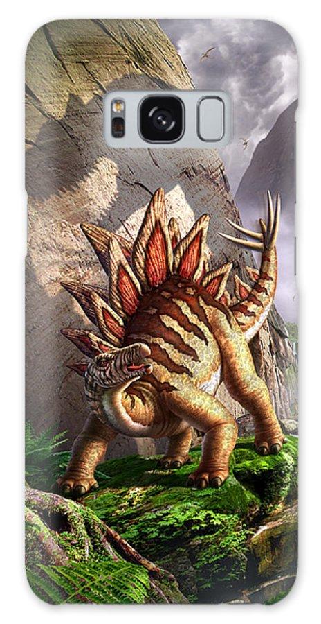 Stegosaurus Galaxy S8 Case featuring the digital art Against The Wall by Jerry LoFaro