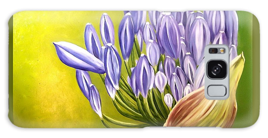 Flower Galaxy Case featuring the painting Agapanthos by Natalia Tejera