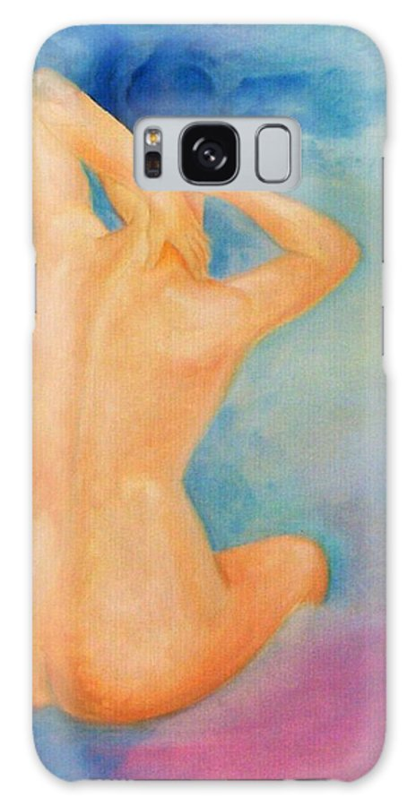Surreal Woman Nude Naked Ski Hair Air Clouds Galaxy Case featuring the painting Air Head by Veronica Jackson