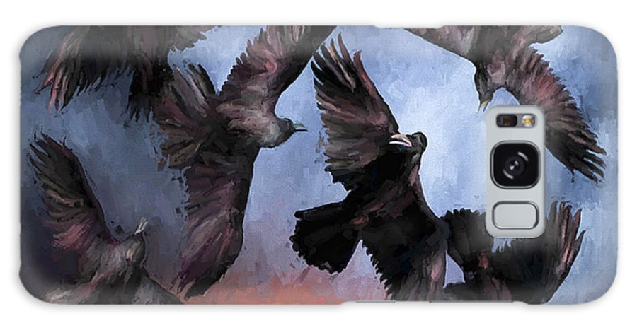 Fine Art Galaxy S8 Case featuring the painting Airborne Unkindness by David Wagner