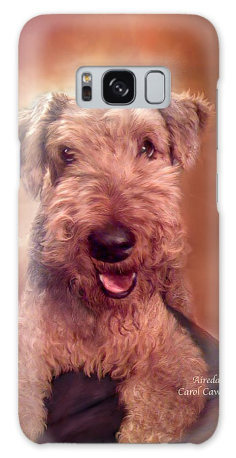 Airedale Galaxy S8 Case featuring the mixed media Airedale by Carol Cavalaris
