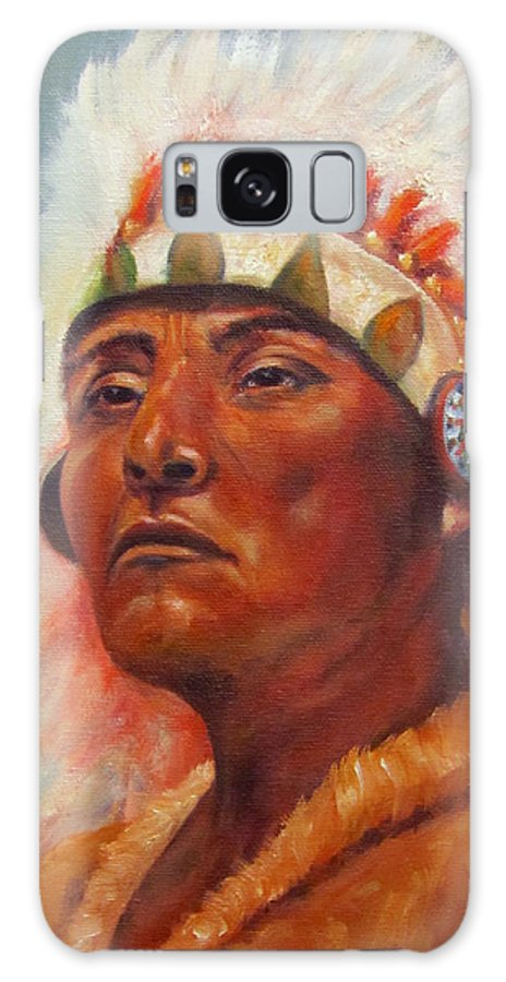 Native American Indian Galaxy S8 Case featuring the painting Akecheta, Native American by Sandra Reeves