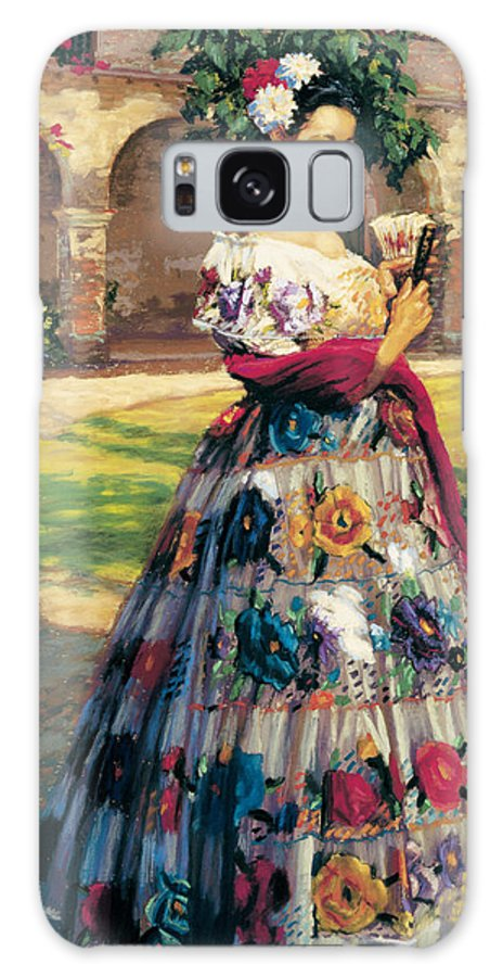 Woman Elaborately Embroidered Mexican Dress. Background Mission San Juan Capistrano. Galaxy Case featuring the painting Al Aire Libre by Jean Hildebrant