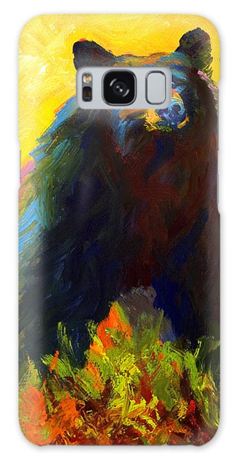 Western Galaxy S8 Case featuring the painting Alert - Black Bear by Marion Rose