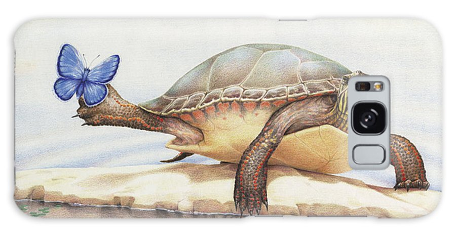 Turtle Galaxy S8 Case featuring the drawing Alight On Her Toes by Amy S Turner