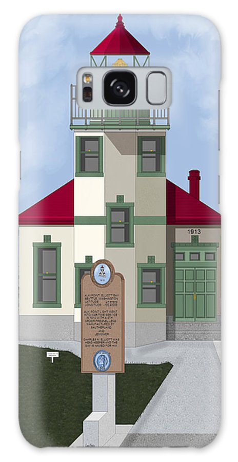 Lighthouse Galaxy S8 Case featuring the painting Alki Point On Elliott Bay by Anne Norskog