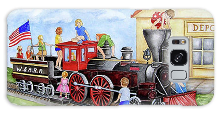 Children Galaxy S8 Case featuring the painting All Aboard by Sally Storey Jones