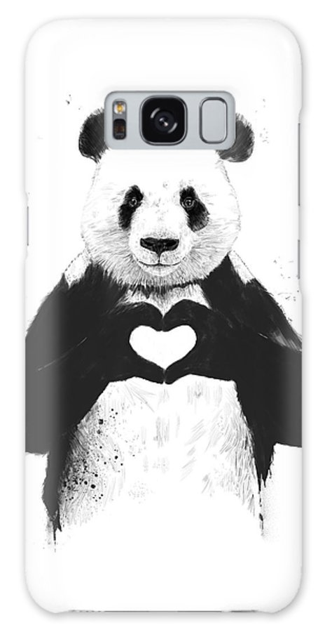 Panda Galaxy S8 Case featuring the mixed media All you need is love by Balazs Solti