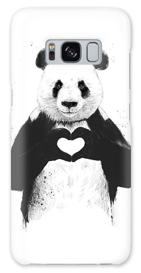Panda Galaxy Case featuring the mixed media All You Need Is Love by Balazs Solti