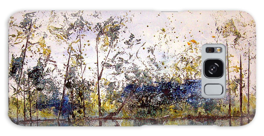 Abstract Galaxy Case featuring the painting Along The River Bank by Ruth Palmer