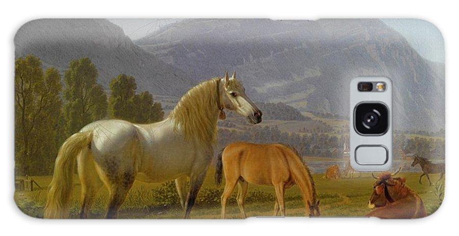 Johan Jakob Biedermann Winterthur 1763 - 1830  Alpine Landscape With Horses Galaxy S8 Case featuring the painting Alpine Landscape by Johan Jakob