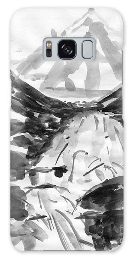 Black Ink Painting Galaxy S8 Case featuring the painting Alpine River by Lidija Ivanek - SiLa