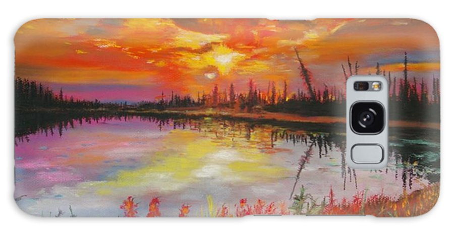 Landscape Galaxy S8 Case featuring the painting Alton Mill Summer Sunset by Henny Dagenais