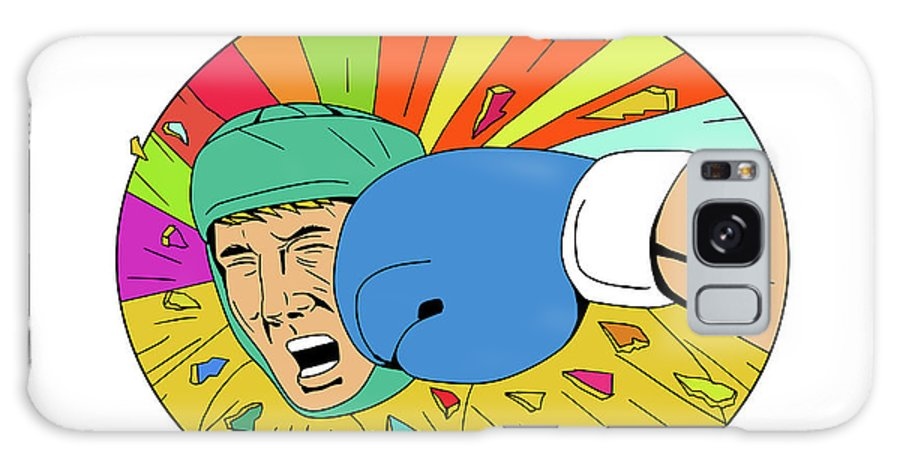 Drawing Galaxy S8 Case featuring the digital art Amateur Boxer Hit By Glove Punch Oval Drawing by Aloysius Patrimonio