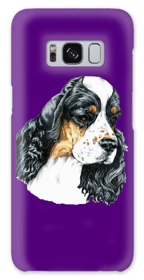 Art Galaxy Case featuring the drawing American Cocker Spaniel Parti Color Portrait by Kathleen Sepulveda