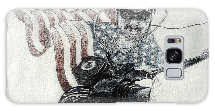Motorcycles Harley American Flag Cycles Biker Galaxy S8 Case featuring the drawing American Rider by Tony Ruggiero
