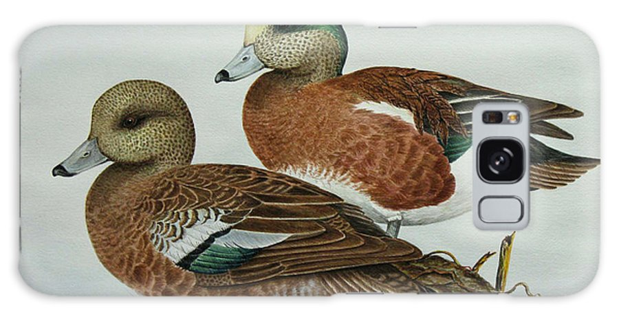 Ducks Galaxy Case featuring the painting American Widgeons by Elaine Booth-Kallweit