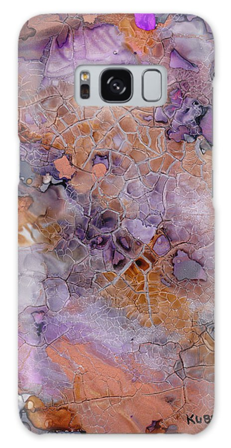 Abstract Galaxy S8 Case featuring the mixed media Amethyst And Copper by Susan Kubes