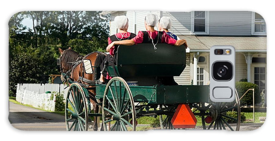 Amish Women Riding In Open Horse Drawn Cart Galaxy S8 Case featuring the photograph Amish Women by Sally Weigand