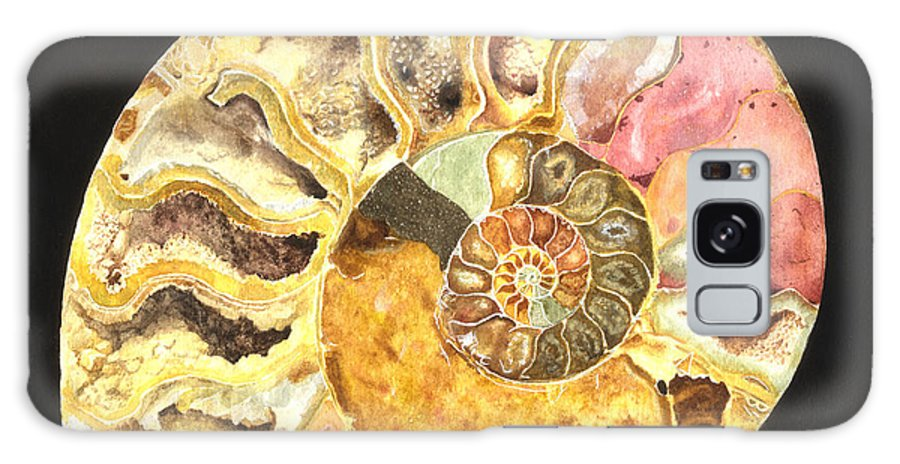 Ammonite Fossil Galaxy S8 Case featuring the painting Ammonite Fossil by Lynn Quinn