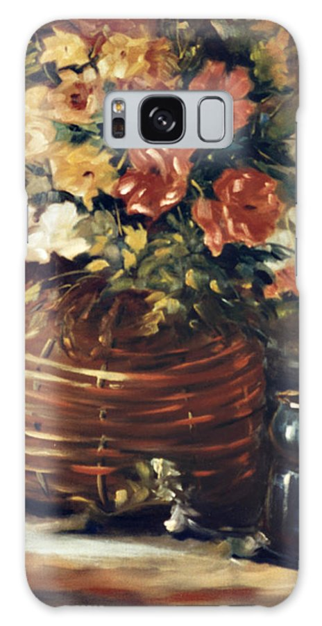 Flowers Galaxy Case featuring the painting An Old Basket With Flowers by Jimmie Trotter