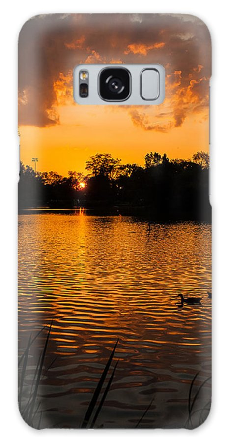 Sunset Galaxy S8 Case featuring the photograph An Orange Pond. by Jose Sandoval
