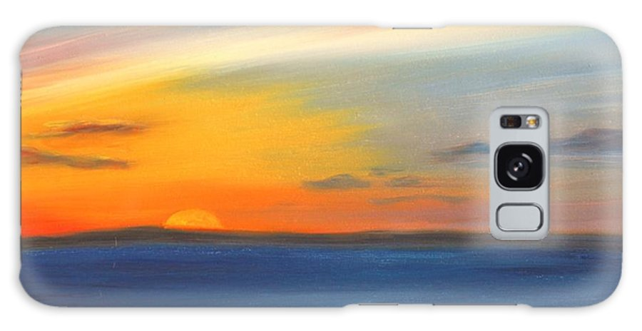 Oil Galaxy Case featuring the painting Anchored At Sunset by Greg Neal