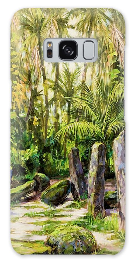 Tropical Landscape Galaxy S8 Case featuring the painting Ancient Latte Stones by Ric Castro