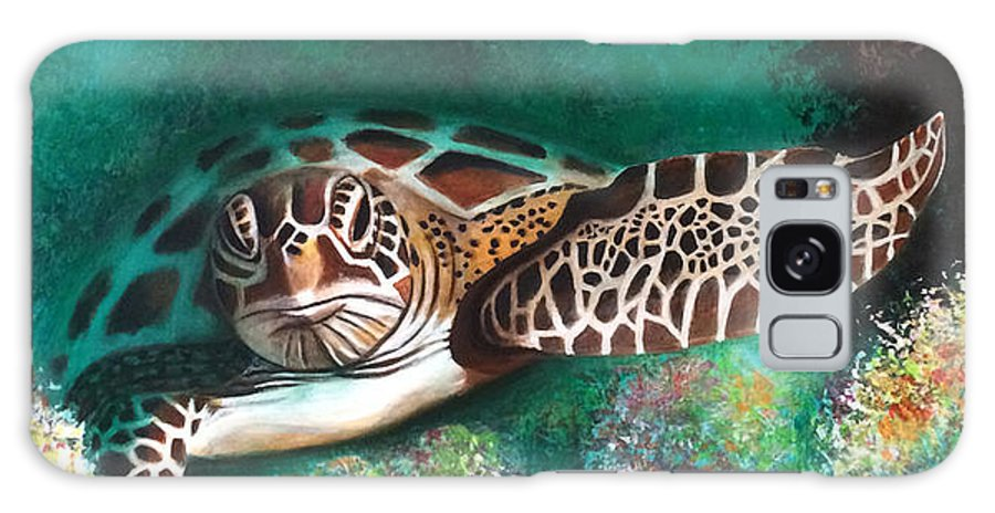 Sea Turtle Galaxy Case featuring the painting Ancient Lineage by Jill English