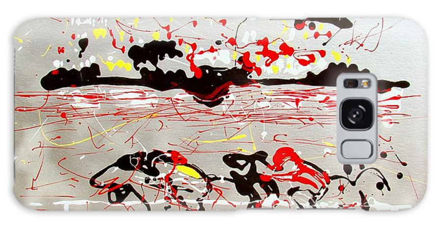 Abstract Galaxy Case featuring the mixed media And Down The Stretch They Come by J R Seymour