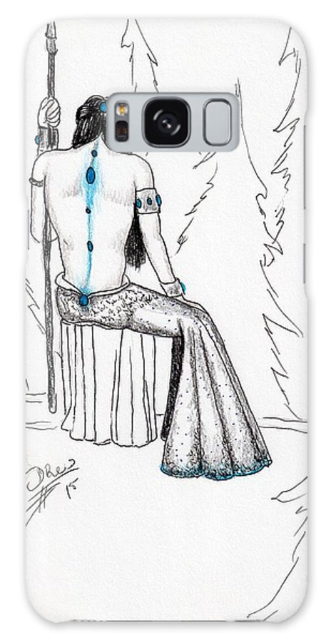 Female Warrior Galaxy S8 Case featuring the drawing Androdameia by Drew O'Dailey