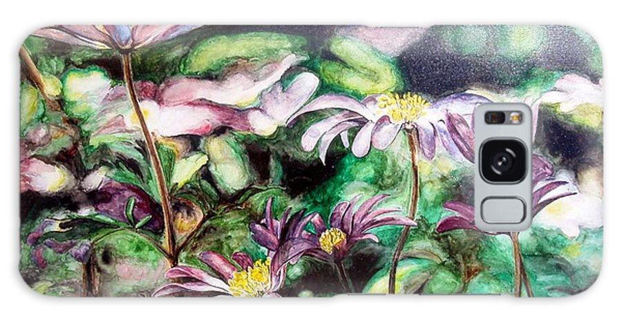 Floral Painting Galaxy Case featuring the painting Anemones Japonaises by Muriel Dolemieux