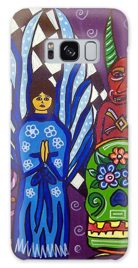 Angel Galaxy S8 Case featuring the painting Angel And Devil-day Of The Dead by Anggelyka Apostle
