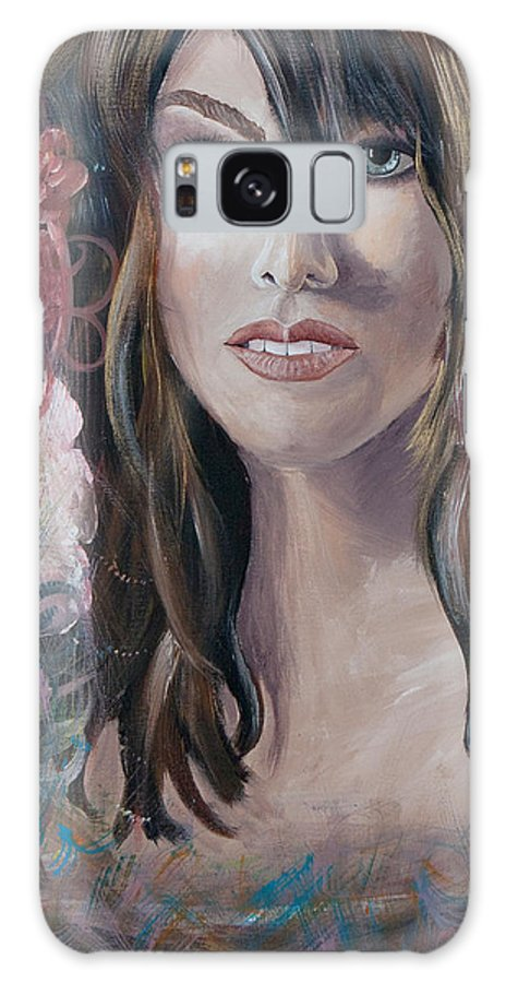 Acrylic Galaxy S8 Case featuring the painting Angel Eyes by Olga Smith