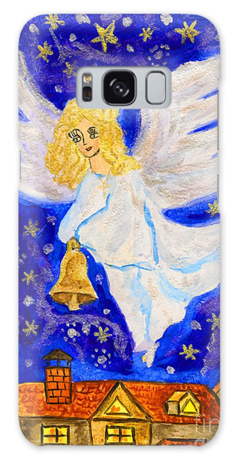 Visual Galaxy S8 Case featuring the painting Angel With Christmas Bell by Irina Afonskaya