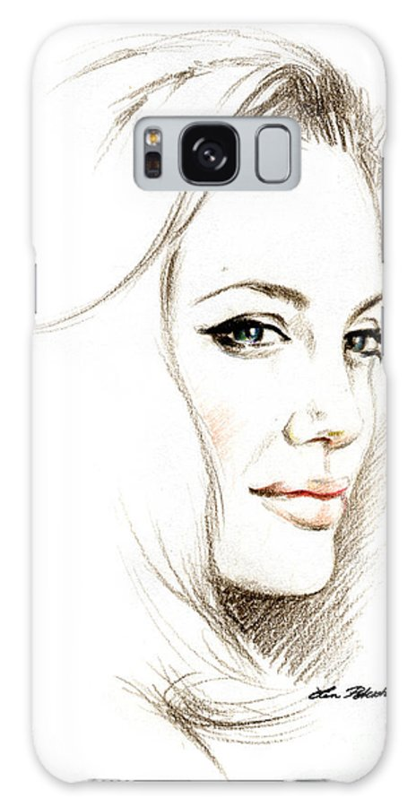 Lin Petershagen Galaxy S8 Case featuring the drawing Angelina Jolie by Lin Petershagen