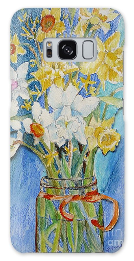 Flowers Galaxy Case featuring the painting Angels Flowers by Jan Bennicoff