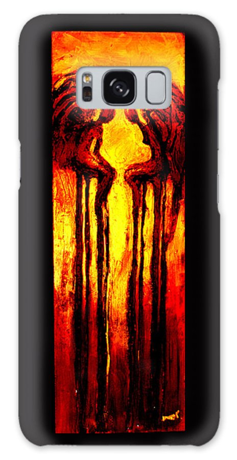 Abstract Galaxy S8 Case featuring the painting Angels Talk by Milda Aleknaite