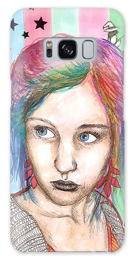 Stars Galaxy Case featuring the drawing Anne Sofie by Freja Friborg